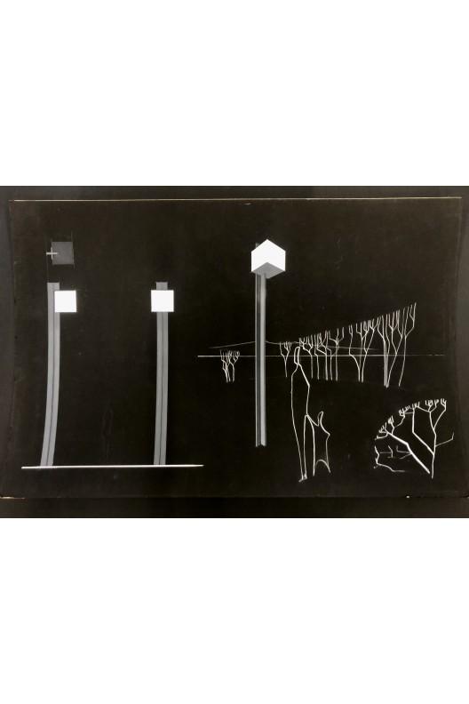 Nicolas Schöffer / dessin original / projet lampadaires pour Philips