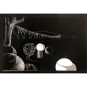 Nicolas Schöffer / dessin original / projet luminaires pour Philips