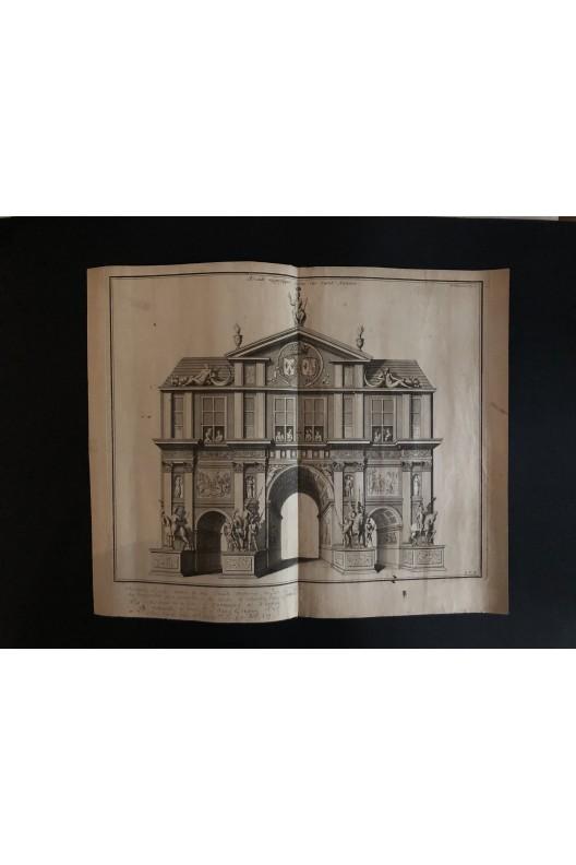 Arcades magnifique élevée rue Saint Antoine / Gravure 18ème siècle