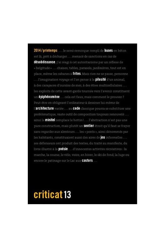 Criticat N° 13 printemps 2014
