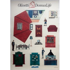 SOTTSASS / OLIVETTI DOMUS LIFE / AFFICHE 1990