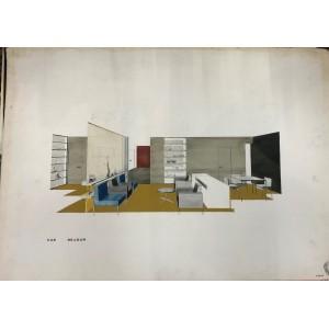 Dessin original décoration intérieure. Ch. Delon