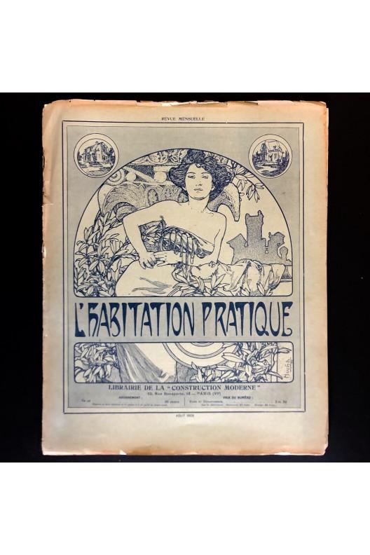 L'habitation pratique août 1909 / Lithographie Mucha