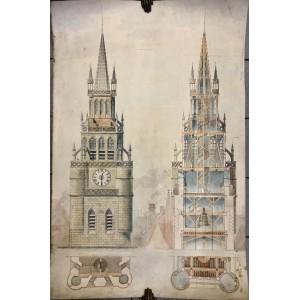 Dessin d'architecture XIXème siècle.